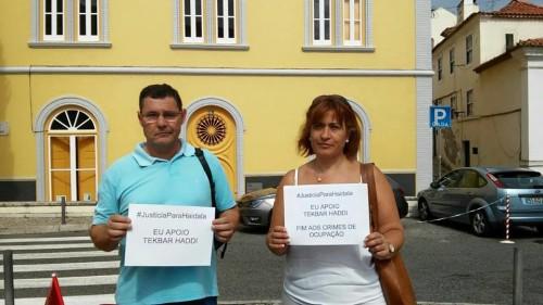 Alcino Soares de la Unión de Sindicatos de Porto y Lina Pereira del Sindicato de la Función Pública