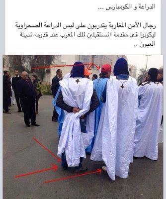 Agentes marroquíes del servicio secreto entrenándose en llevar la vestimenta tradicional para hacerse pasar por saharauis en El Aaiun ocupado