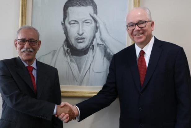 presidente de la República Árabe Saharaui Democrática, Brahim Gali , se reunió con Rafael Ramírez , Representante Permanente de Venezuela ante ONU
