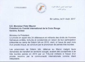 El Presidente de la RASD y SG del Frente Polisario envía carta al presidente del Comité Internacional de la Cruz Roja